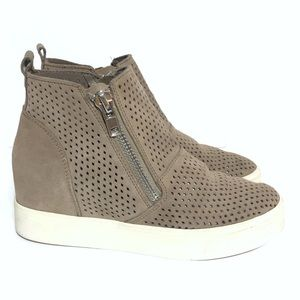 Steve Madden Tan Perforated Suede Wedgie P Sneaker